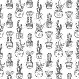 Nahtlose Musterillustration des Kaktus Stockfoto