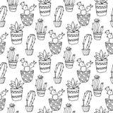 Nahtlose Musterillustration des Kaktus Vektor Succulent und gezeichneter Satz der Kakteen Hand In den Türanlagen in den Töpfen Stockbild