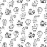 Nahtlose Musterillustration des Kaktus Vektor Succulent und gezeichneter Satz der Kakteen Hand In den Türanlagen in den Töpfen Lizenzfreie Stockfotos