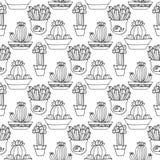 Nahtlose Musterillustration des Kaktus Vektor Succulent und gezeichneter Satz der Kakteen Hand In den Türanlagen in den Töpfen Lizenzfreies Stockbild
