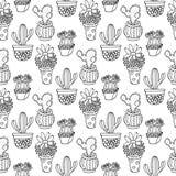 Nahtlose Musterillustration des Kaktus Vektor Succulent und gezeichneter Satz der Kakteen Hand In den Türanlagen in den Töpfen Lizenzfreie Stockfotografie