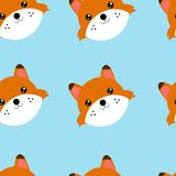 Nahtlose Musterköpfe des Fuchses Illustration des nahtlosen Musters mit Tier stock abbildung