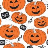 Nahtlose Musterkürbise für Halloween-Tag vektor abbildung