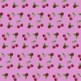Nahtlose Musterkirsche auf rosa Hintergrundvektorillustration für Webdesign oder Anzeigen lizenzfreie abbildung