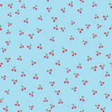 Nahtlose Musterkirsche mit Blatt auf Unschärfepastellhintergrund lizenzfreie stockfotografie