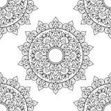 Nahtlose Mustermandalaverzierung Blumenmandala Dekorative Elemente der Weinlese Hand gezeichneter orientalischer Hintergrund flor stock abbildung