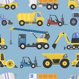 Nahtlose Mustermaschinerie der Baugeräte mit der LKWs Gelbtransport-Vektorillustration flach Lizenzfreie Stockfotos