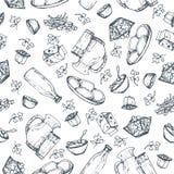 Nahtlose MusterMilchprodukte, die gezeichnete Hand, skizziert Nahrungsmittel Stockbild