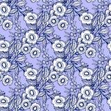Nahtlose Musternatursatz-Sammlungshand gezeichnet Ethnische Verzierung, Blumendruck, Textilgewebe, botanisches Element Weinlese R vektor abbildung