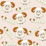 Nahtlose Musterquadratkarikatur weiße Schafe Lizenzfreies Stockfoto