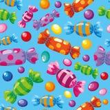 Nahtlose Mustersüßigkeiten blau Lizenzfreie Stockfotos