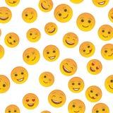 Nahtlose Musterschablone der lustigen Emoticons Vektor Abbildung