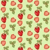 nahtlose Mustersommererdbeere mit Blättern auf grünem Hintergrund lizenzfreie abbildung