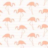 Nahtlose Musterstreifen des exotischen rosa Flamingos Stockfotos