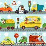 Nahtlose Mustertransporte mit Tieren in der Stadt lizenzfreie abbildung
