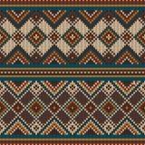 Nahtlose Musterverzierung auf der Wolle strickte Text Stockfotografie