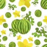 Nahtlose Musterwassermelone und -blume in der Origamiart Lizenzfreie Stockfotos