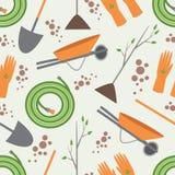 Nahtlose Musterwerkzeuge für das Arbeiten im Garten Stockbilder