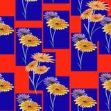 Nahtlose Musterzusammenfassungsverzierung von violetten und gelben Blumen auf dem roten Hintergrund watercolor Stockfotos