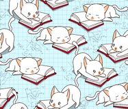 Nahtlose nette Katze liest ein Buchmuster lizenzfreie abbildung