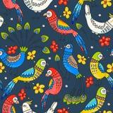 Nahtlose Papageien und Pfaus Stockfotos