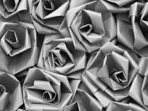 Nahtlose Papierrosen des silbernen Graus Stockbild