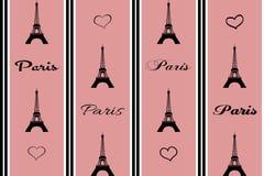 Nahtlose Paris-Illustration auf rosa Hintergrund stockbild