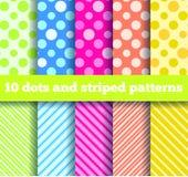 10 nahtlose Punkte und gestreifte Muster Stockfoto