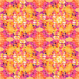 Nahtlose regelmäßige Kreise kopieren die gelb-orangee weiße rosa violette purpurrote Bedeckung Stockfotografie