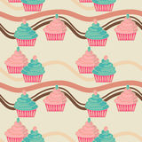 Nahtlose rosafarbene und blaue kleine Kuchen Stockfotografie