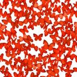 Nahtlose rote Schmetterlinge Stockbilder