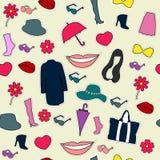 Nahtlose Sammlung Frauen ` s Mode-Accessoires Stockfoto