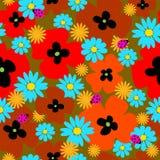 Nahtlose Schablone der Blume mit Mohnblumen und Marienkäfern Lizenzfreies Stockbild