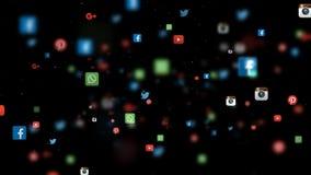 Nahtlose Schleife des Social Media-APP-Ikonen-Bewegens stock footage