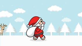 Nahtlose Schleife Weihnachts-Santa Claus-Animation Karikatur Santa Claus mit Geschenktasche gehend in Schneewald mit Winterlandsc lizenzfreie abbildung
