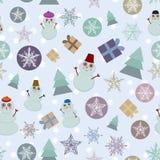 Nahtlose Schneeflocke des neuen Jahres des Musters, Schneemann, Lizenzfreies Stockfoto