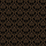 Nahtlose schwarze goldene Farbe der Damast-Tapeten-3 Stockfoto