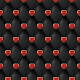 Nahtlose schwarze lederne Beschaffenheit mit glänzenden roten goldenen Herzen knöpft Silk Gewebe des Vektors, Valentinsgrußtagesh Lizenzfreie Stockfotos