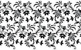 Nahtlose Schwarzweiss-Blumengrenze Stockfotos