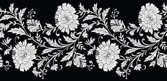 Nahtlose Schwarzweiss-Blumengrenze Stockbilder
