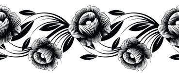 Nahtlose Schwarzweiss-Blumengrenze Lizenzfreie Stockfotografie