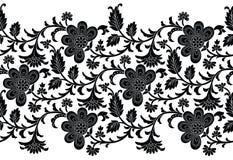 Nahtlose Schwarzweiss-mit Blumengrenze für Spitze Stockbild