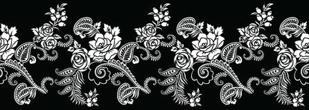 Nahtlose Schwarzweiss-Rosenblumengrenze Lizenzfreie Stockbilder