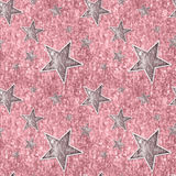 Nahtlose silberne rosafarbene Sterne auf Schein-Rosa Lizenzfreie Stockbilder