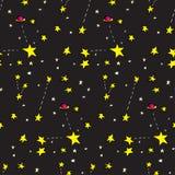 Nahtlose Sterne und Planeten Lizenzfreies Stockfoto