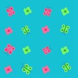 Nahtlose symmetrische bunte Blumen und Schmetterlinge Stockfotos