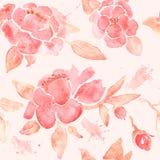 Nahtlose Tapete des Aquarells mit Pfingstrosenblumen Lizenzfreie Stockbilder