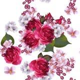 Nahtlose Tapete des Blumenvektors mit lila Blumen und Rosen Lizenzfreies Stockfoto
