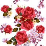Nahtlose Tapete des Blumenvektors mit lila Blumen und Rosen Stockbilder