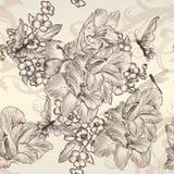 Nahtlose Tapete des schönen Vektors mit Blumen in Weinlese styl lizenzfreie abbildung